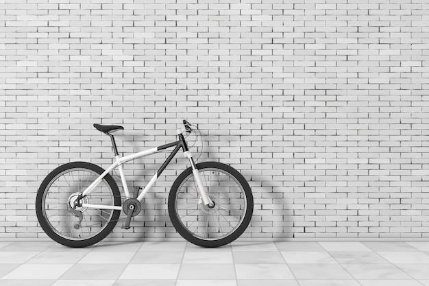 Schwarzweiss-mountainbike vor backsteinmauer. 3d-rendering