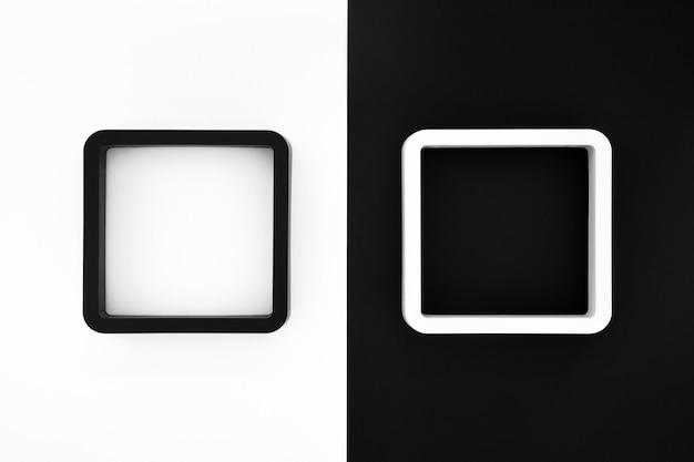 Schwarzweiss-rahmen auf weißem und schwarzem farbhintergrund