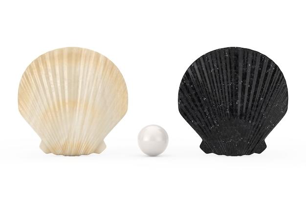 Schwarzweiss-schönheits-jakobsmuschel-meer oder ozean-muschel seashell mit weißer perle auf einem weißen hintergrund. 3d-rendering