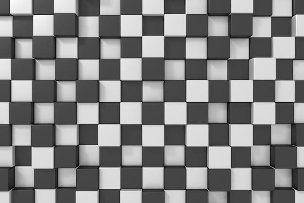 Schwarzweiss-würfelhintergrund. 3d-rendering.