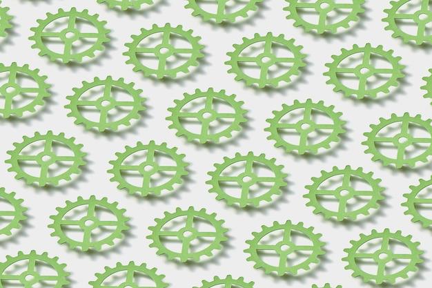 Schwebende handgefertigte uhrwerkmechanismen aus papier über weißem hintergrund mit weichen schatten. kreatives papercraft-muster.