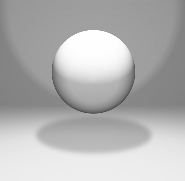 Schwebende kugel in einem weißen raum