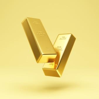 Schwebende zwei goldene balken auf goldstudiohintergrund