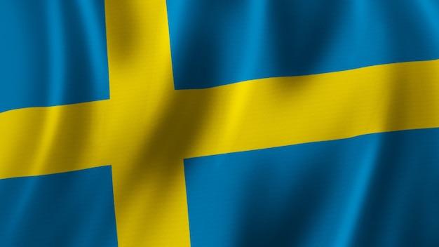 Schweden fahnenschwingen nahaufnahme 3d-rendering mit hochwertigem bild mit stoffstruktur
