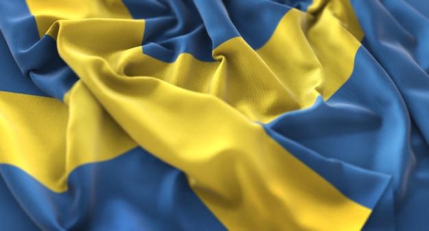 Schweden-flagge gekräuselt schön winken makro nahaufnahme schuss