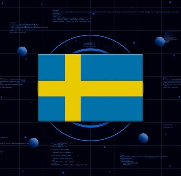 Schweden flagge mit realistischen technologieelementen, 3d-rendering