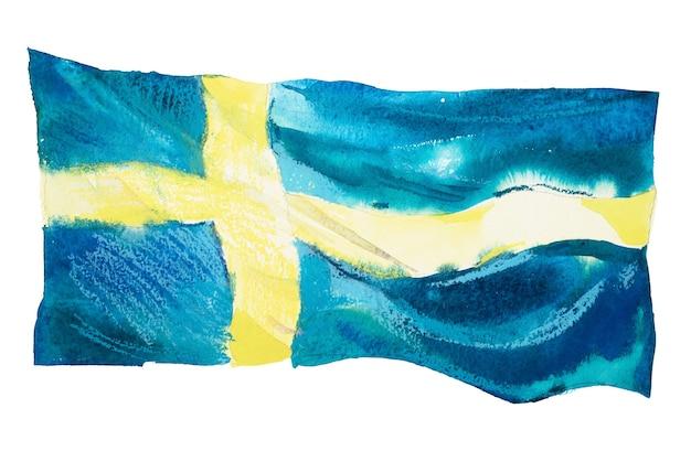 Schweden, schwedische flagge. handgezeichnete aquarellillustration.