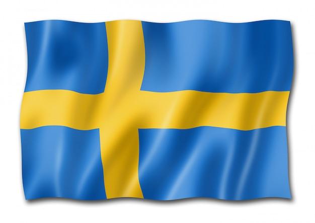 Schwedische flagge, isoliert auf weiss