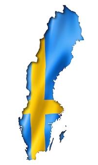 Schwedische flagge karte