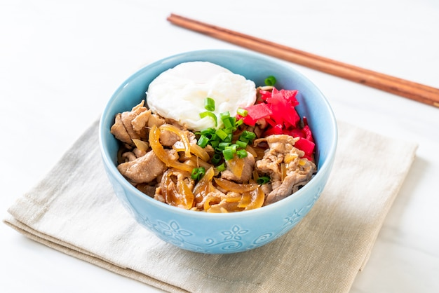 Schweinefleischreisschale mit ei (donburi) - japanisches essen