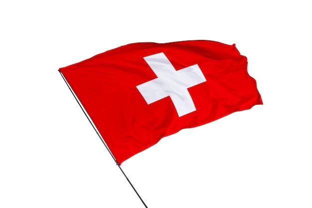 Schweiz-flagge auf weißem hintergrund