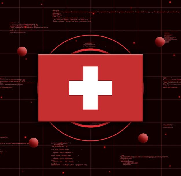 Schweiz flagge mit realistischen technologieelementen, 3d-rendering