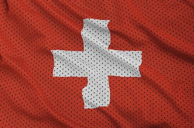Schweizer flagge gedruckt auf einem sportswear-netzgewebe aus polyester-nylon