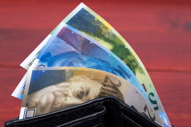 Schweizer geldfranken in der brieftasche