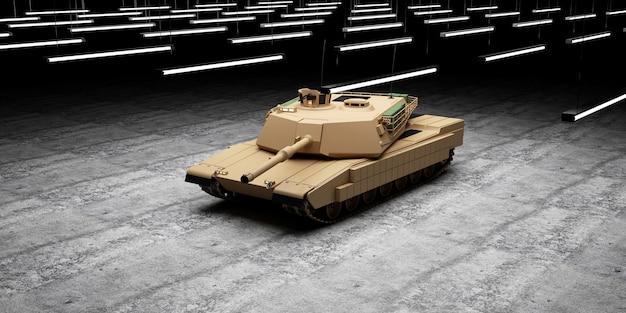 Schwerer militärpanzer auf betonboden im hangar mit lampenbeleuchtung