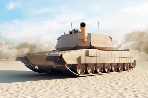 Schwerer militärpanzer in der wüste