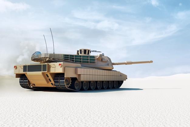 Schwerer militärpanzer in der wüstenlandschaft