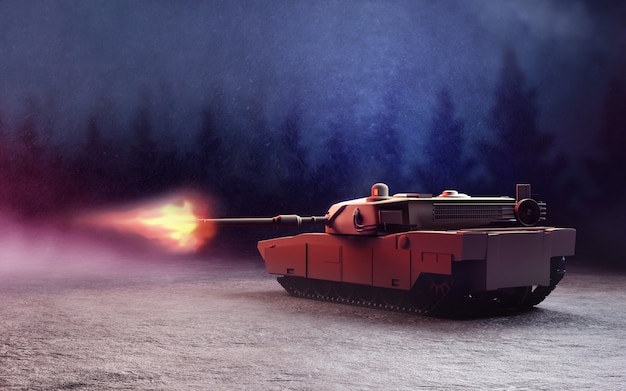 Schwerer panzer in der schlacht.