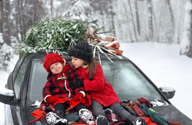 Schwestern in mänteln gestrickte fäustlinge und mützen sitzen auf dem auto neben dem weihnachtsbaum und geschenken