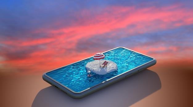 Schwimmbad auf smartphone mit sonnenuntergang. reise- und urlaubskonzept. , 3d-rendering