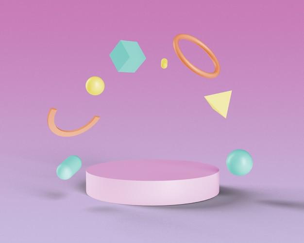 Schwimmende geometrische abstrakte figuren mit podium