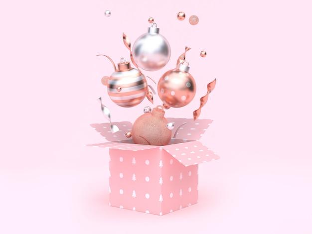 Schwimmende geschenkbox der weihnachtskugel, die rosa hintergrund öffnet
