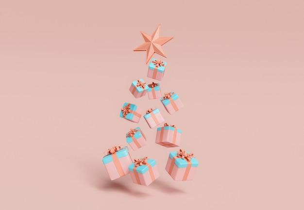 Schwimmende geschenke in form eines weihnachtsbaumes