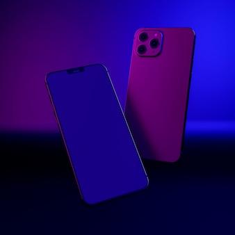 Schwimmende telefone in buntem licht