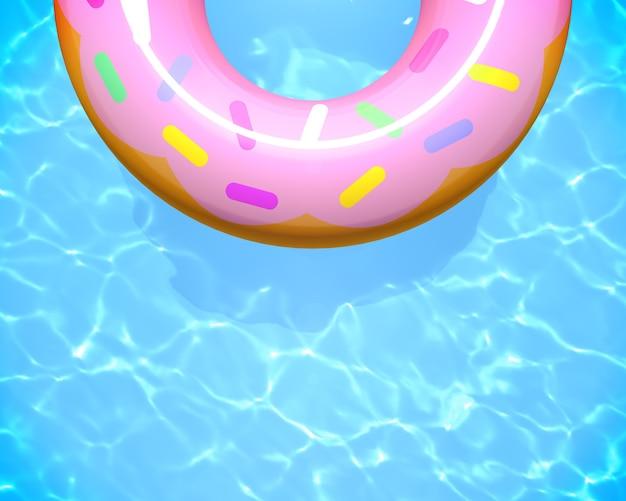 Schwimmring donut schwimmen auf blauem schwimmbad 3d-rendering sommer pool party hintergrund