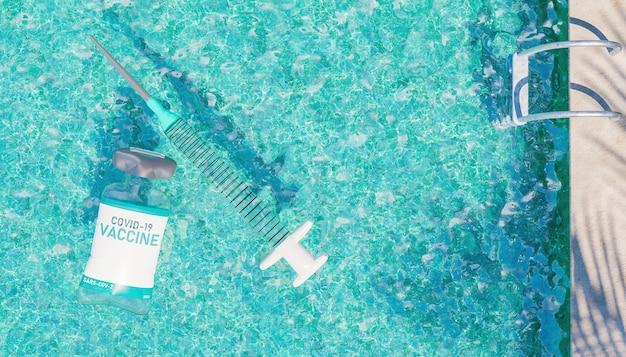Schwimmschwimmer mit impfstoff und spritzenform schwimmend in einem pool mit treppen und palmenschatten
