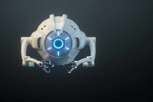 Sci-fi-flugdrohne mit kamera oder futuristischer montagemaschine isoliert auf schwarzer wand. zukunftstechnologien, künstliche intelligenz. 3d-rendering, 3d-illustration.