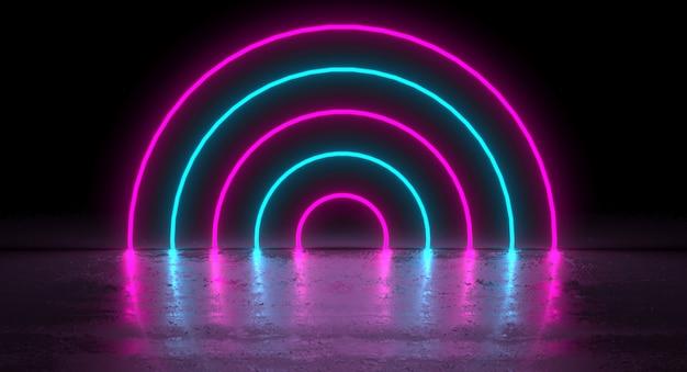 Sci-fi futuristic blue purple neon kreis runde form röhren auf reflexion