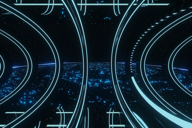 Sci fi futuristischer blau leuchtender neontunnel flur korridor alien raumschiff hintergrund 3d-rendering