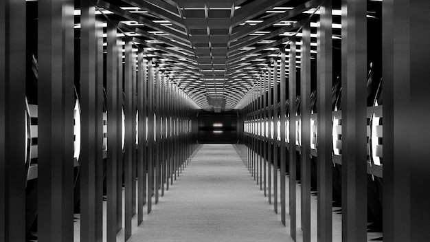 Sci-fi-korridorflur des abstrakten raums des 3d-renderings