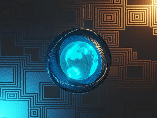 Sci-fi-metallhintergrund mit abstrakter textur beleuchtet in blau und orange. holographisches modell der erde. 3d-rendering.