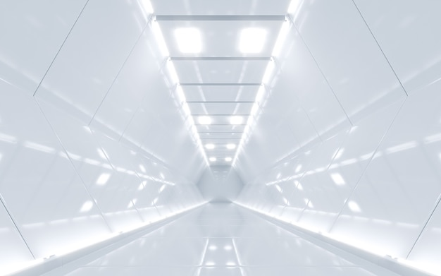 Sci-fi-raumschiff-korridor weiße farbe. 3d-rendering