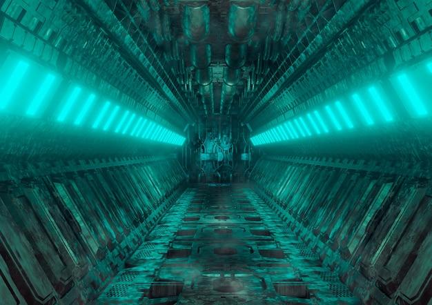 Sci-fi-realistischer leuchtender korridor aus dem raumschiff-innenraum. cyberpunk futuristischer tunnel mit grunge-metallwänden. 3d-rendering