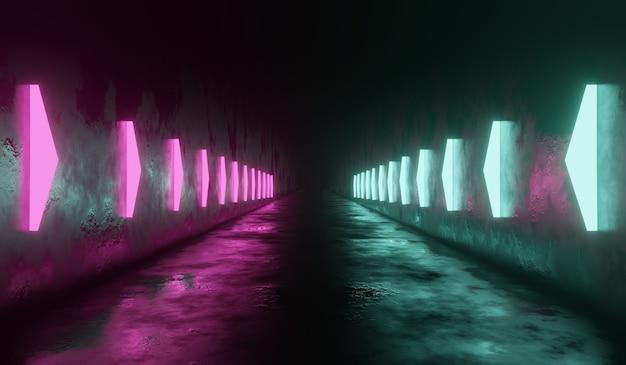 Sci-fi-technologie-tunnelhintergrund mit rosa und grünem neon.