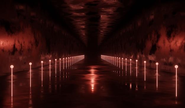 Sci-fi-technologie-tunnelhintergrund mit rotem neon.