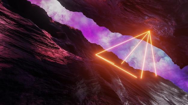 Sci-fi-virtual-reality-landschaft 3d-rendering im cyberpunk-stil, fantasy-universum und hintergrund der weltraumwolke