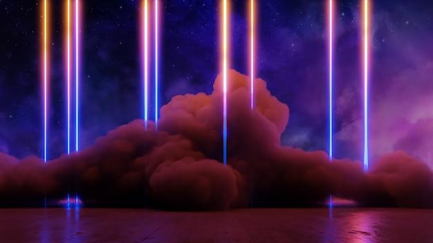 Sci-fi-virtual-reality-landschaft 3d-rendering im cyberpunk-stil, fantasy-universum und weltraumwolkenhintergrund