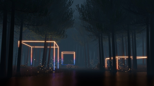 Sci-fi-virtual-reality-landschaft 3d-rendering im cyberpunk-stil