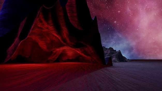 Sci-fi-virtual-reality-landschaft im cyberpunk-stil 3d-rendering, fantasy-universum und weltraumwolkenhintergrund