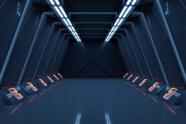 Science-fiction-innen-rendering science-fiction-raumschiff korridore blaulicht.