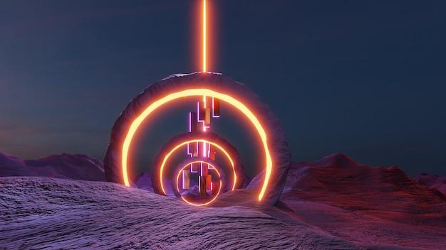 Science-fiction-landschaft im cyberpunk-stil 3d-rendering, fantasy-universum und galaxie-cloud-hintergrund.