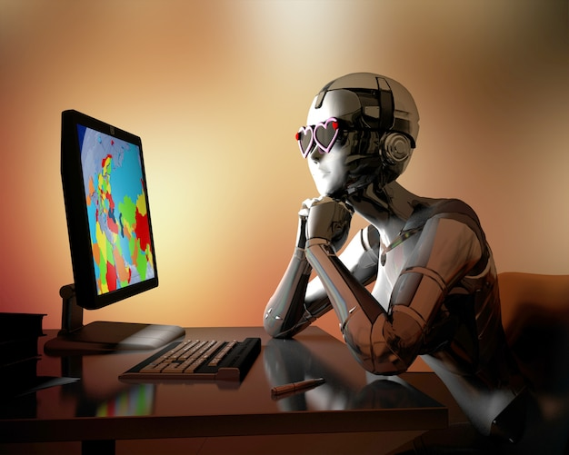Science-fiction-mensch mit computer