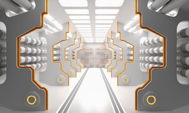 Science-fiction-schmutz beschädigte den metallischen korridorhintergrund, der w beleuchtet wurde