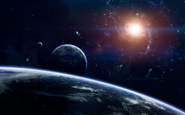 Science-fiction-weltraumtapete, unglaublich schöne planeten, galaxien, dunkle und kalte schönheit des endlosen universums.