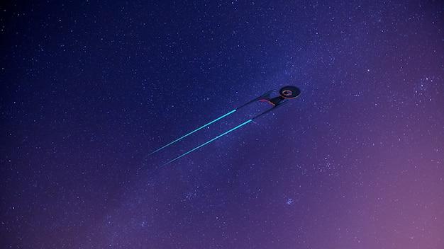 Science fictional-bild eines raumschiffs im weltraum und in der milchstraße