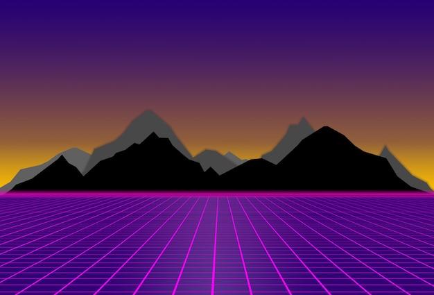 Scifi lila hintergrund mit schwarzen und grauen bergen futuristischer illustration